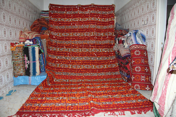 Fabulous Red Wedding blanket Moroccan Handira