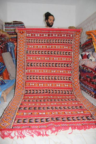 Moroccan Red Kilim Vintage carpet Berber design