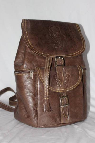 Moroccan leather Backpack, Brown leather Vintage Style Moroccan Hand-made Genuine Leather Backpack