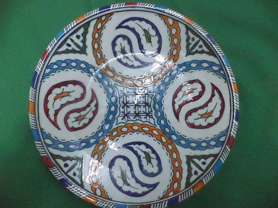 Vintage Moroccan Ceramic Pottery Fez Plate, Home Decor from Morocco, Decorative Plate
