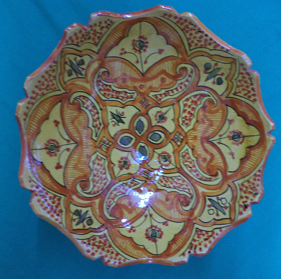 Moroccan ceramic Fruit bowl  pedestal food bowl  bohemian pottery bowls