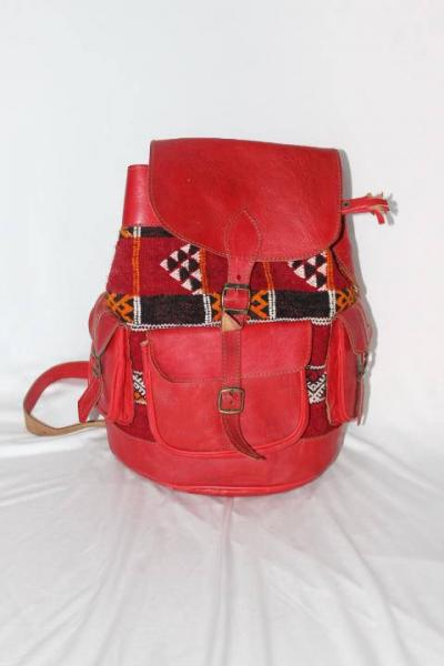 Red Moroccan leather bag, Moroccan backpack | Leather backpack , Kilim bag, bohemian backpack