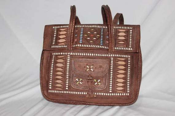 Vintage moroccan leather bag,Bohemian Moroccan handbags | leather handbag Berber design