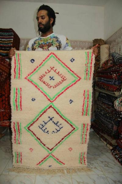 White Beni Ourain berber colorful design