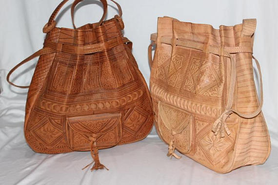 Moroccan bag shoulder leather bucket bags ,Moroccan handcrafted Tan leather bucket bags, leather bag