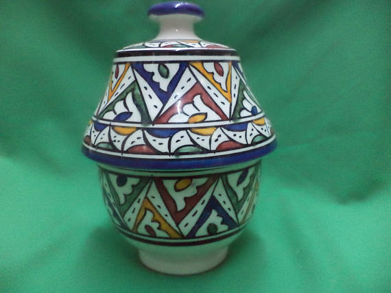 Handcrafted Moroccan Ceramic Jar Geometric Polychrome, Moroccan Pottery