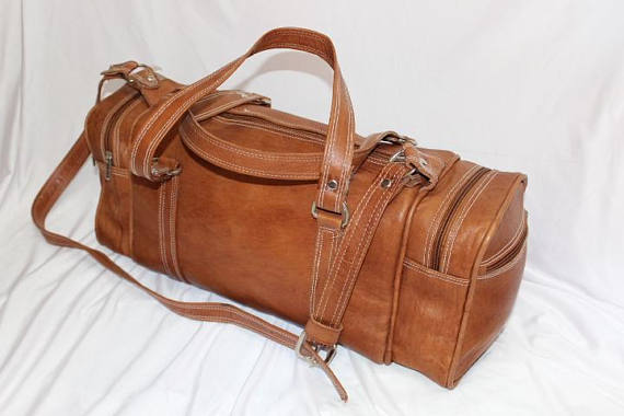Leather Bag Moroccan Tan leather Travel bag large Moroccan leather design