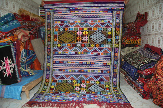 Authentic Berber Kilim Handmade Colorful patterns