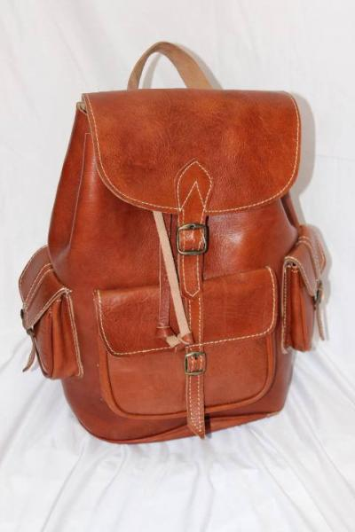 Moroccan leather Backpack, Brown leather Vintage Style Moroccan Hand-made Genuine Leather Backpack i