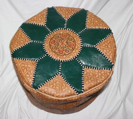 leather  Ottoman pouf : Handmade of Moroccan leather
