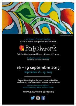 Carrefour europ en du patchwork 16 au 19 sept sainte marie aux mines du 16 09 2015 au 19 09 - Salon du patchwork sainte marie aux mines ...
