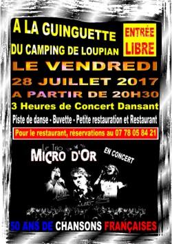 Concert Gratuit chansons francaises Trio Micro d'Or
