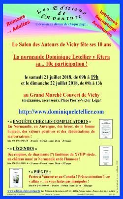 La normande Dominique Letellier fêtera sa 10e participation au… 10e Salon des Auteurs de Vichy les 21 et 22 juillet 2018 !