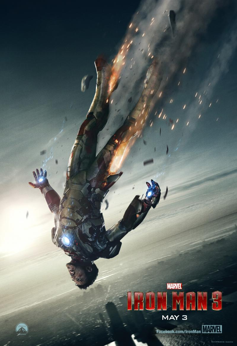 Wallpaper Affiche Iron Man 3 chute Iron Man