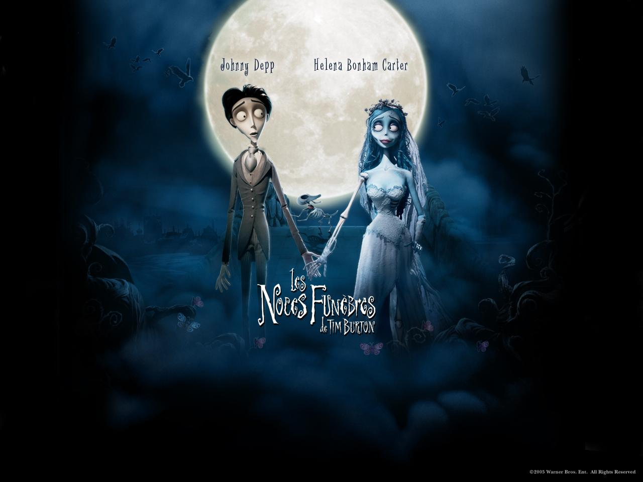 Wallpaper LES NOCES FUNEBRES de TIM BURTON Johnny Depp Helena Bonham Carter