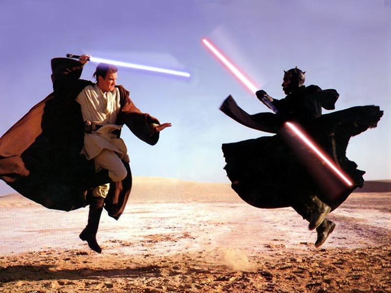 Wallpaper Dark Maul vs Obi Star Wars