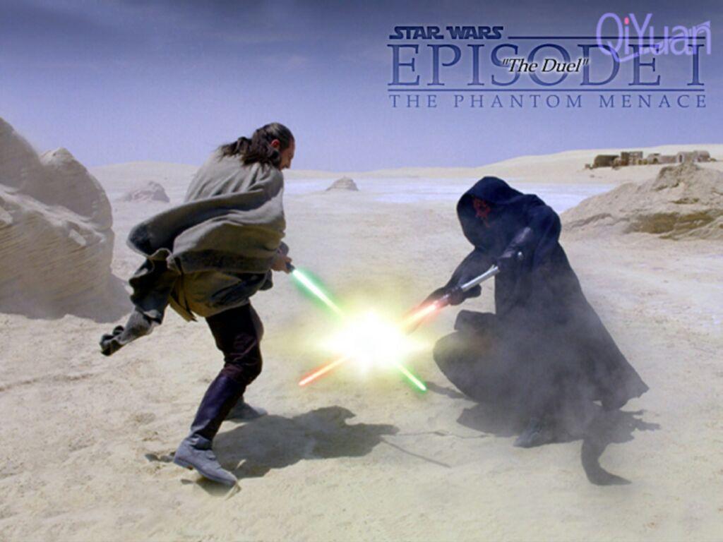 Wallpaper Star Wars Dark Maul vs Qui-Gon Jinn
