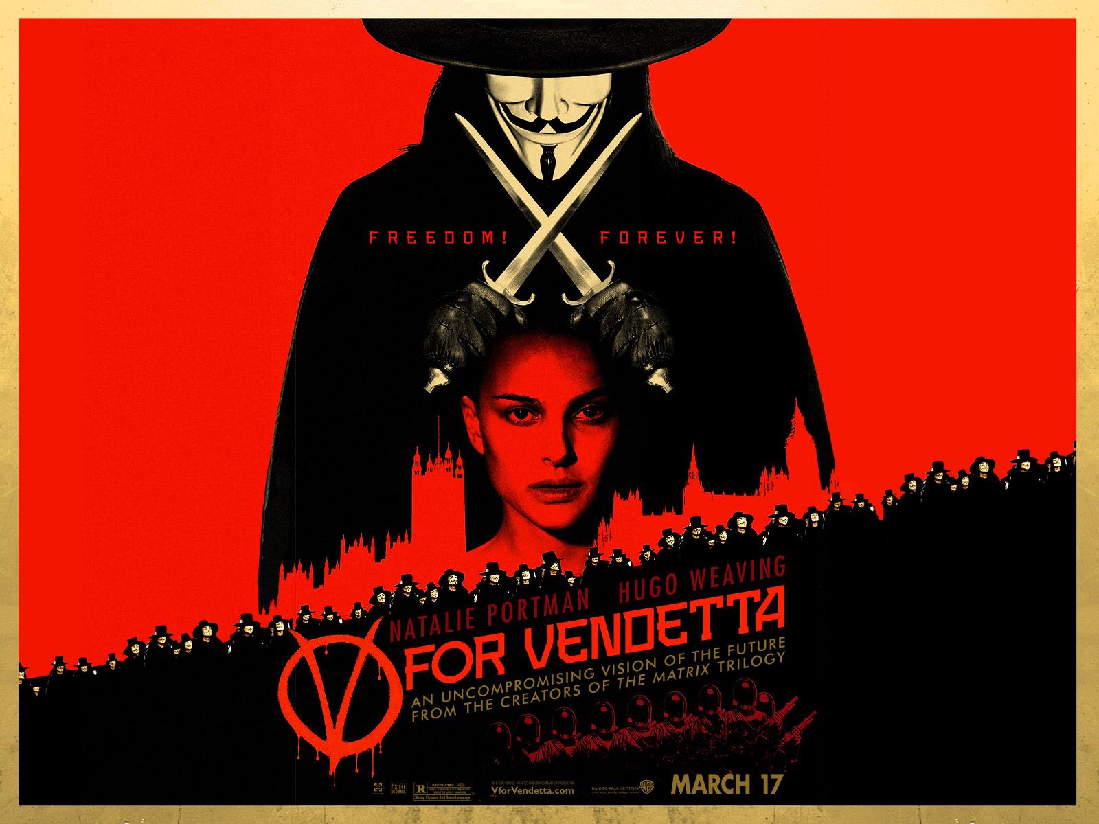 Wallpaper Natalie Portman & Hugo Weaving V pour Vendetta - V for Vendetta