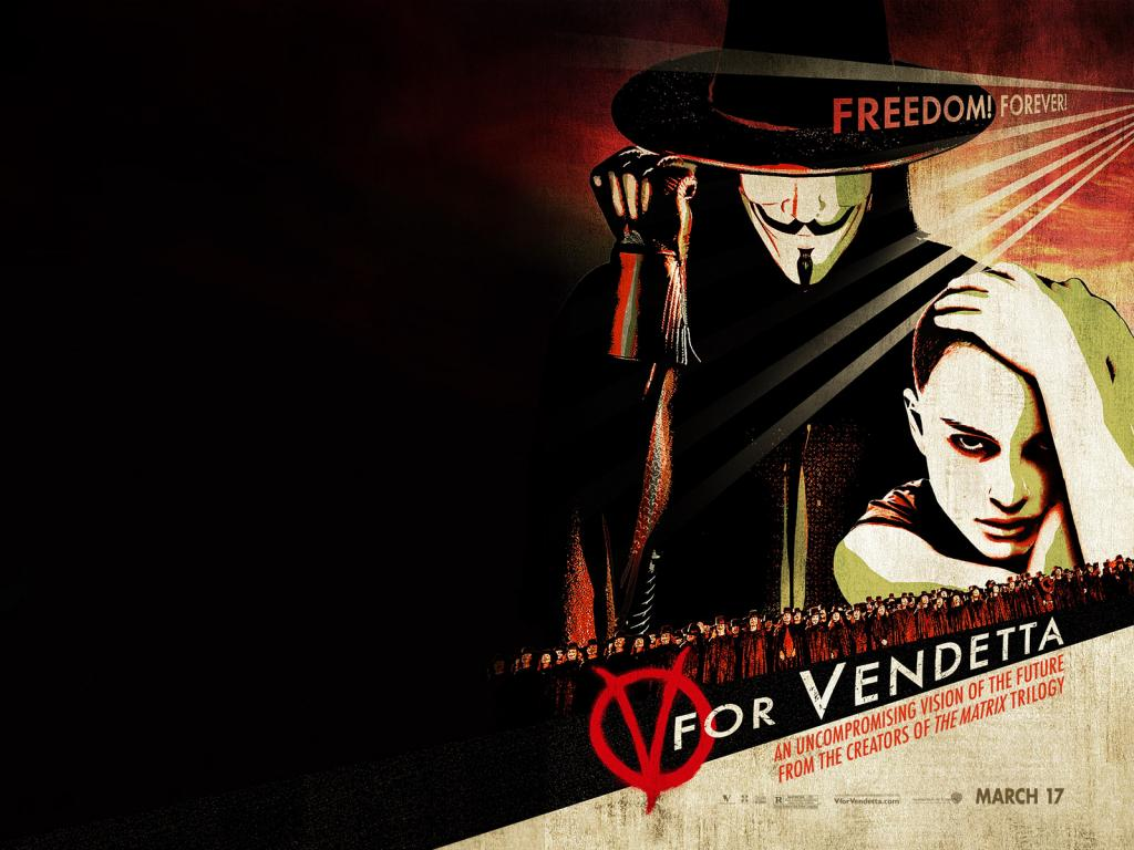 Wallpaper Natalie Portman & Hugo Weaving V pour Vendetta - V for Vendetta
