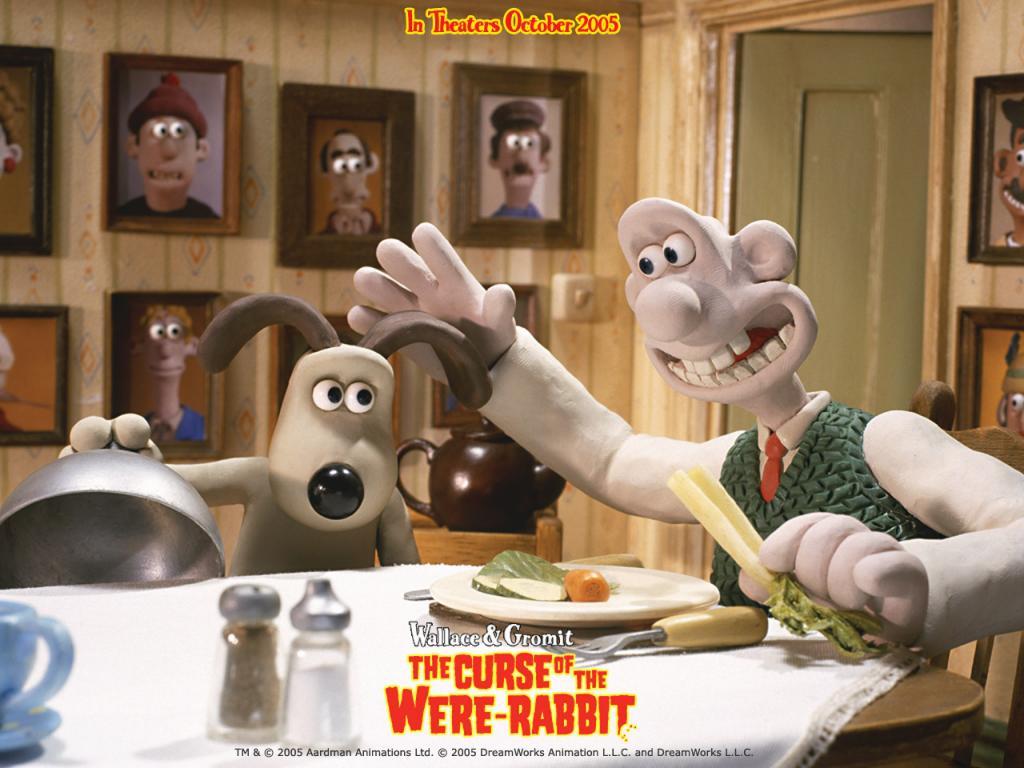 Wallpaper Wallace et Gromit table a manger