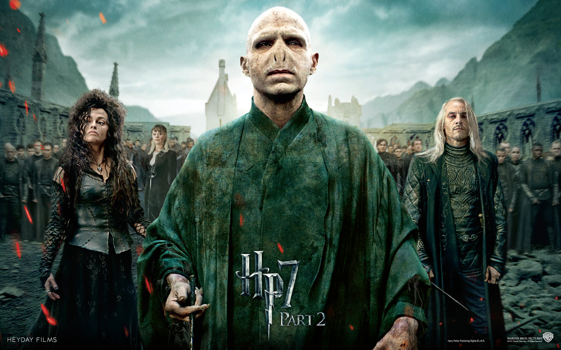 Wallpaper Harry Potter HP7 Draco Trio des forces du Mal - Bellatrix - Voldemort - Lucius