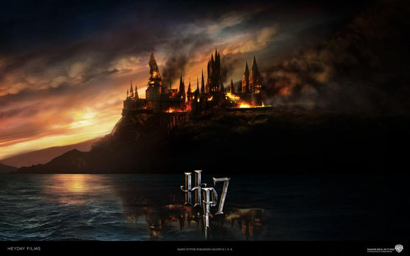 Wallpaper Harry Potter Ecole qui brule