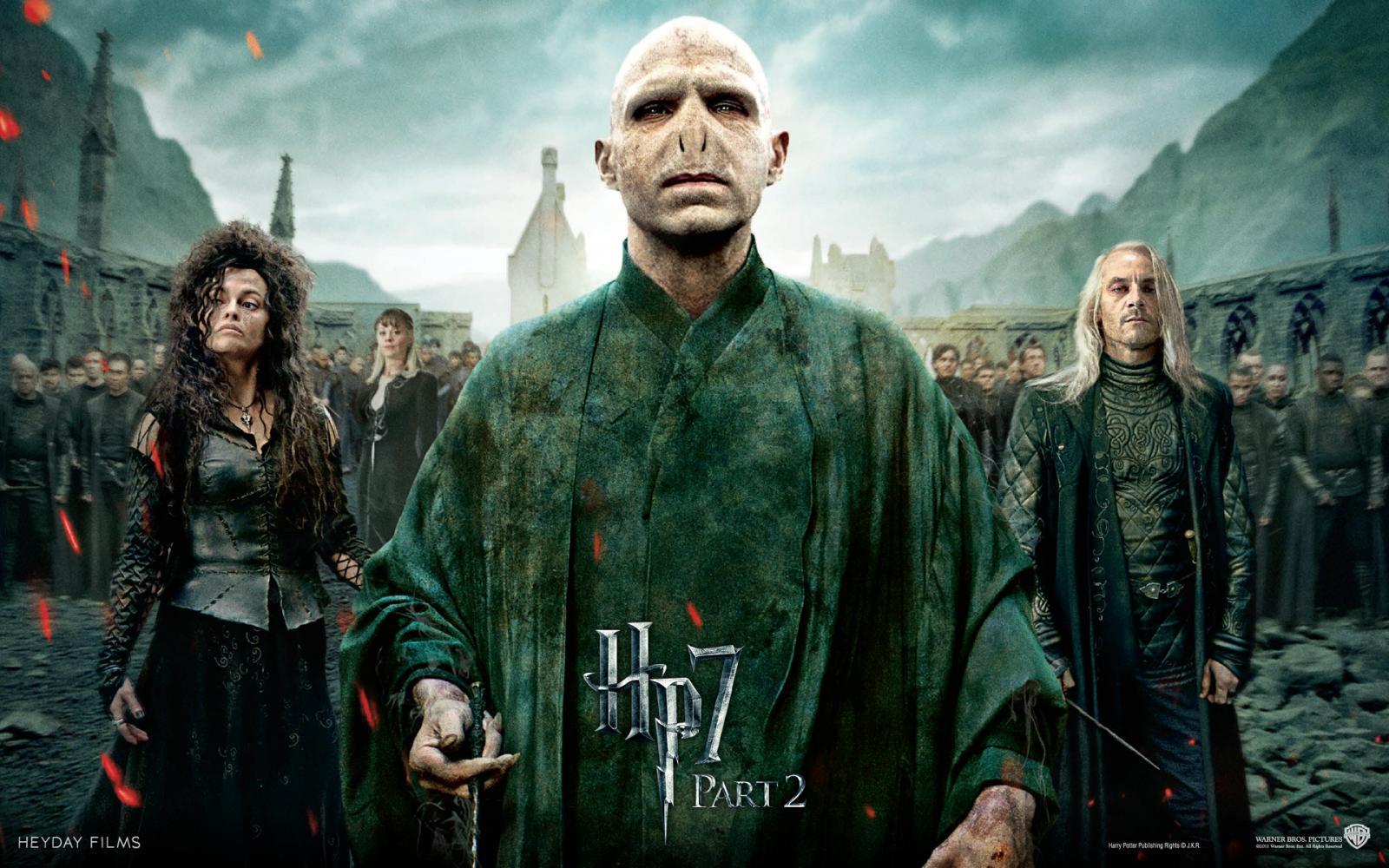Wallpaper Harry Potter HP7 Draco Trio des forces du Mal - Bellatrix - Voldemort - Lucius