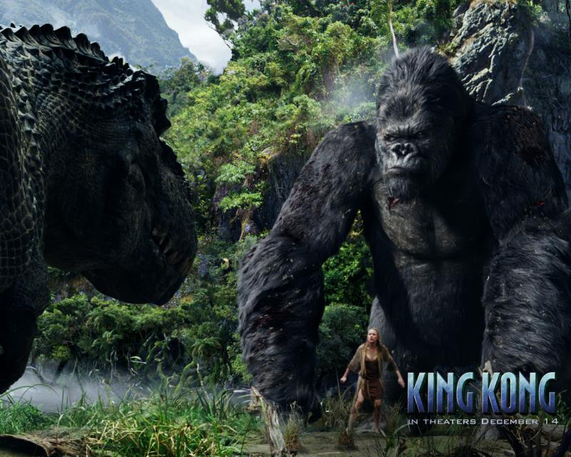Wallpaper King Kong vs jurassic pack