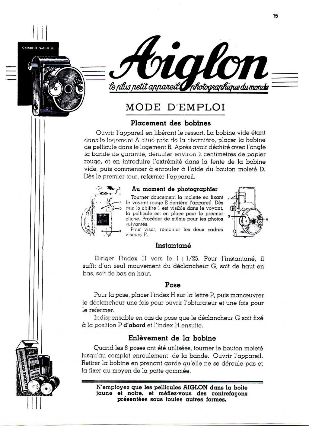 Wallpaper 2679-27  AIGLON subminiature, collection AMI Appareils photos