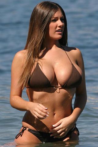 Wallpaper Lucy Pinder bikini plage iPhone