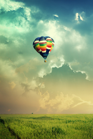 Wallpaper Paysage montgolfiere iPhone