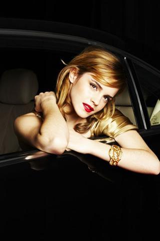 Wallpaper Emma Watson sexy voiture iPhone