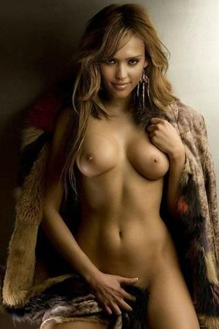 Wallpaper Jessica Alba sexy fourrure siens nus iPhone