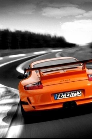 Wallpaper Porsche 911 GT orange iPhone