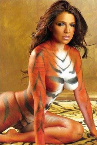 Wallpaper Vida Guerra body painting iPhone