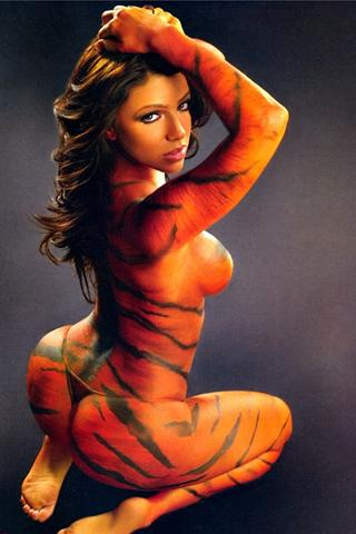 Wallpaper Vida Guerra body painting iPhone