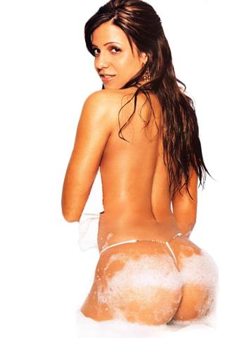 Wallpaper Vida Guerra nue bain mousse iPhone