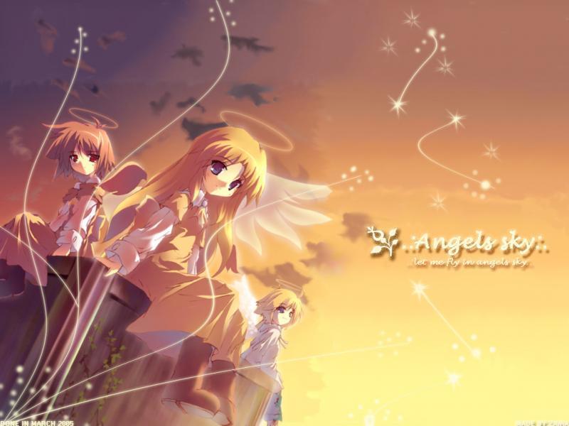 Wallpaper Manga angels sky