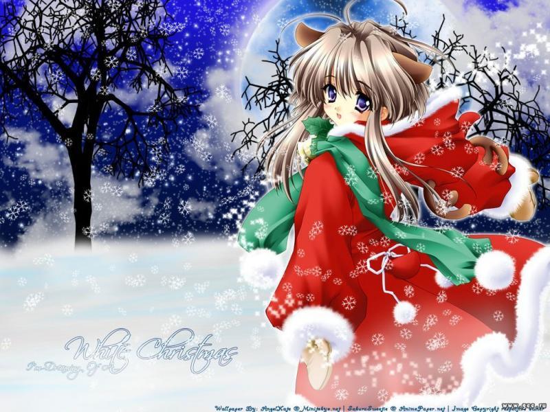 Wallpaper Manga clair de lune nuit etoilee neige