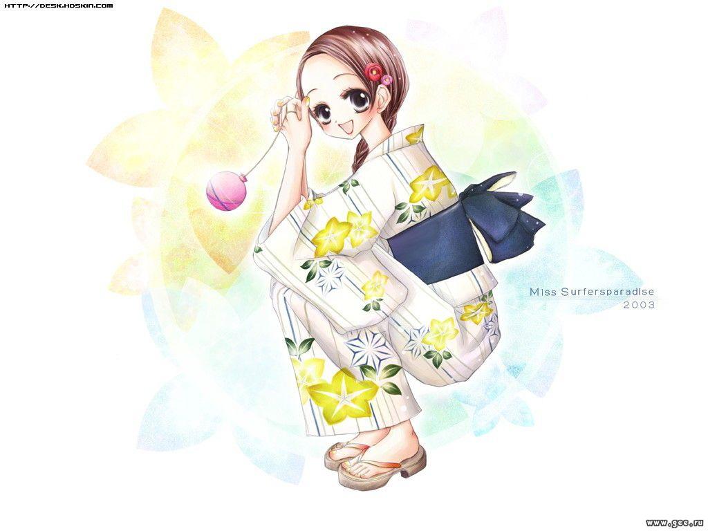 Wallpaper Miss Surfer kimono