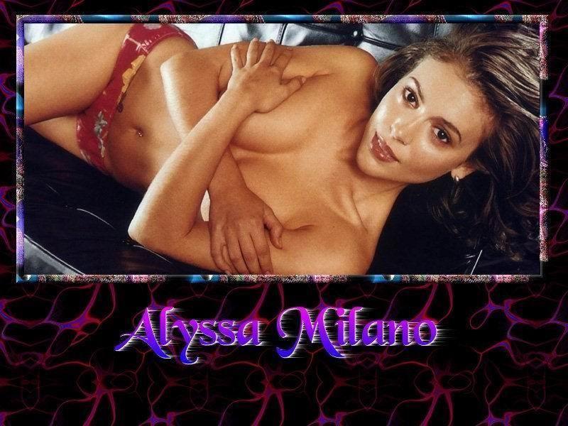 Wallpaper Alyssa Milano quasi nue