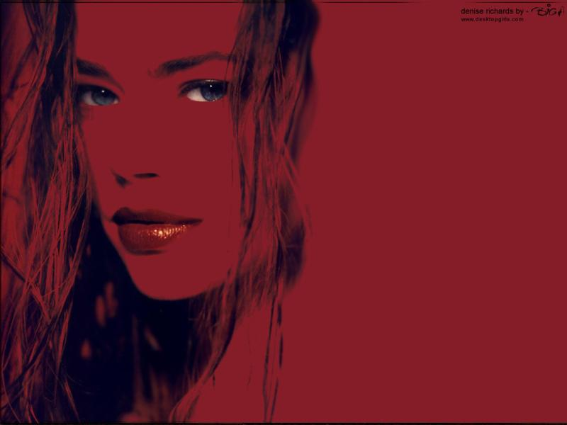 Wallpaper Denise Richards portrait rouge et noir