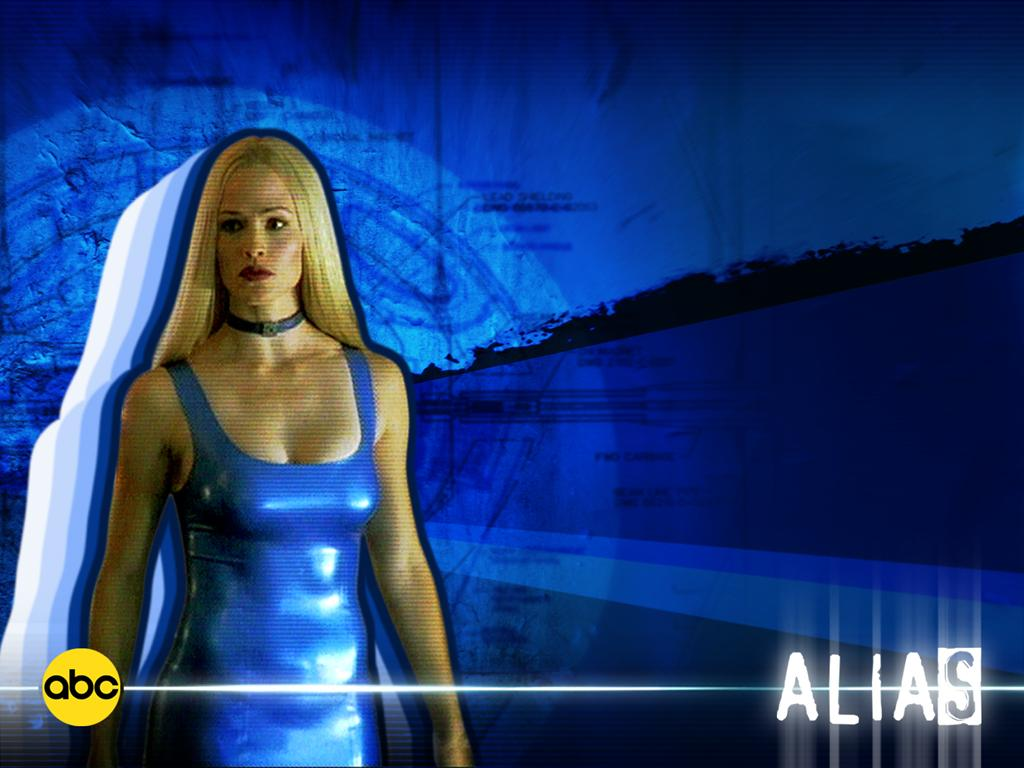Wallpaper Jennifer Garner Alias robe bleu