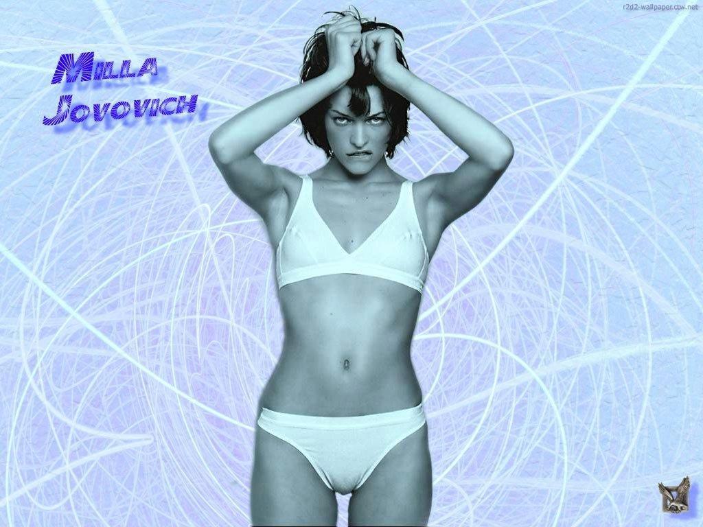 Wallpaper Milla Jovovich tire par les cheveux