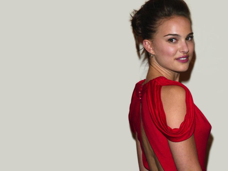 Wallpaper Natalie Portman portrait robe rouge