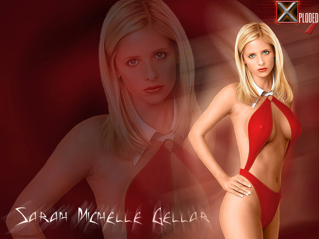 Wallpaper Sarah Michelle Gellar Red Swimsuit