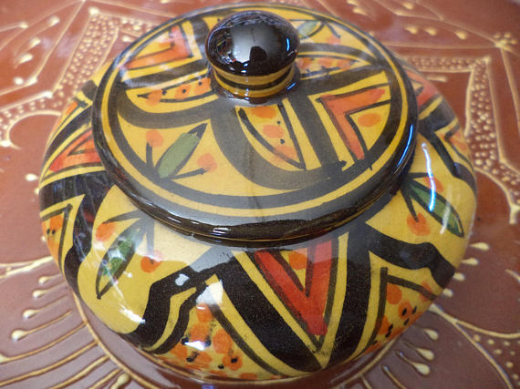 decorative pots with lid moroccan ceramic